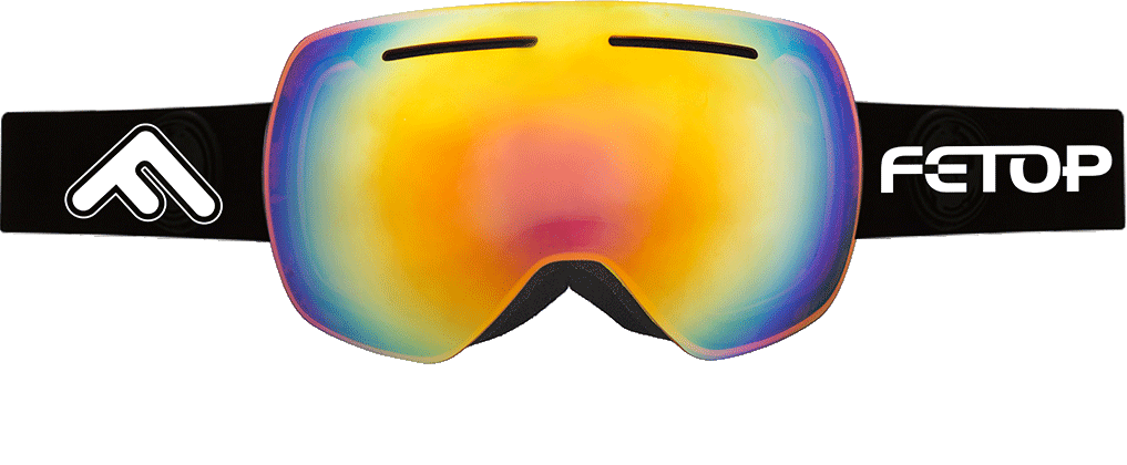 A pair of multi-colored FT-003 Fetop Snow Goggles