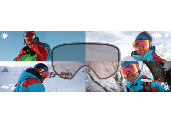 An illustration photochromic tint in different light conditions