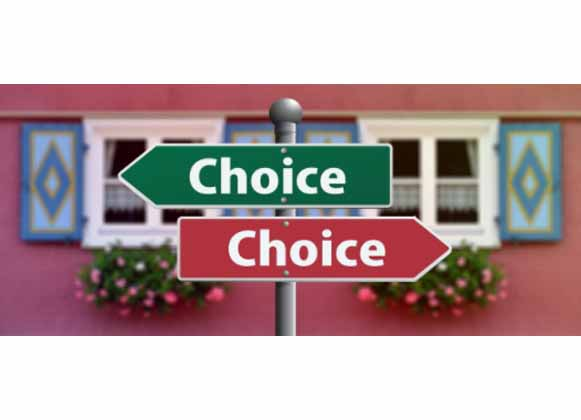 Arrows indicating choice options