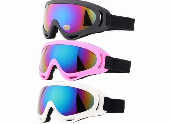Ski goggles with lenses embedded into the frame